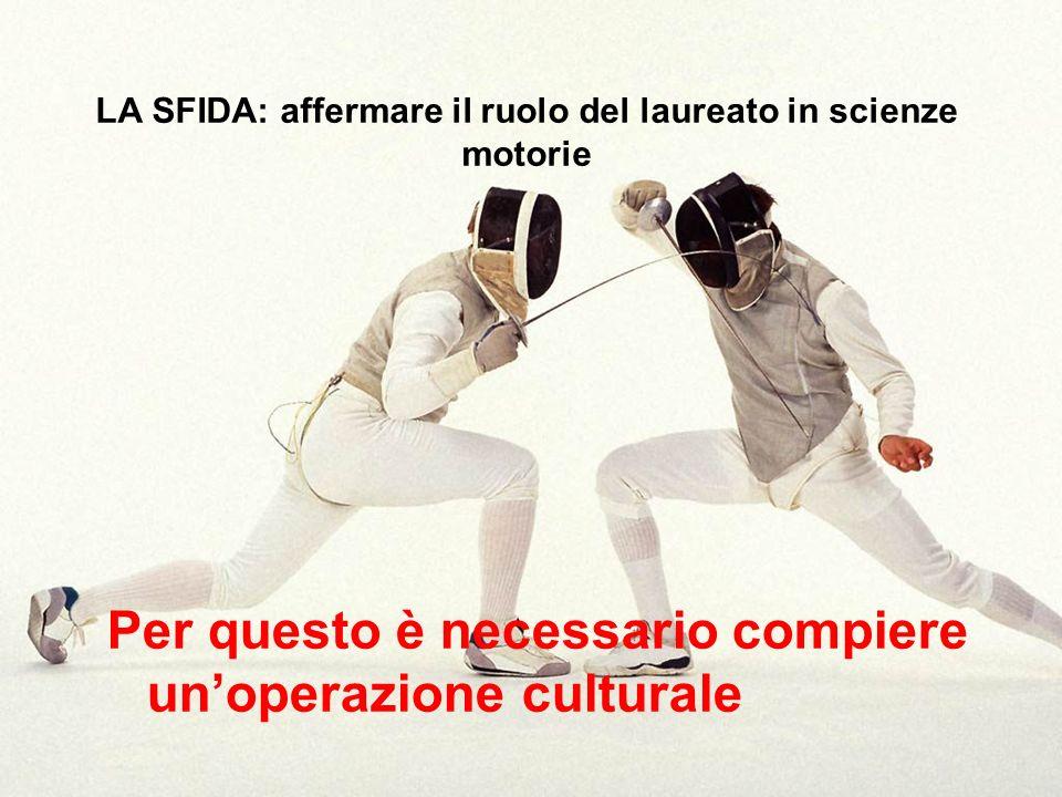 LA SFIDA: affermare il ruolo del laureato in scienze motorie Per questo è necessario compiere unoperazione culturale