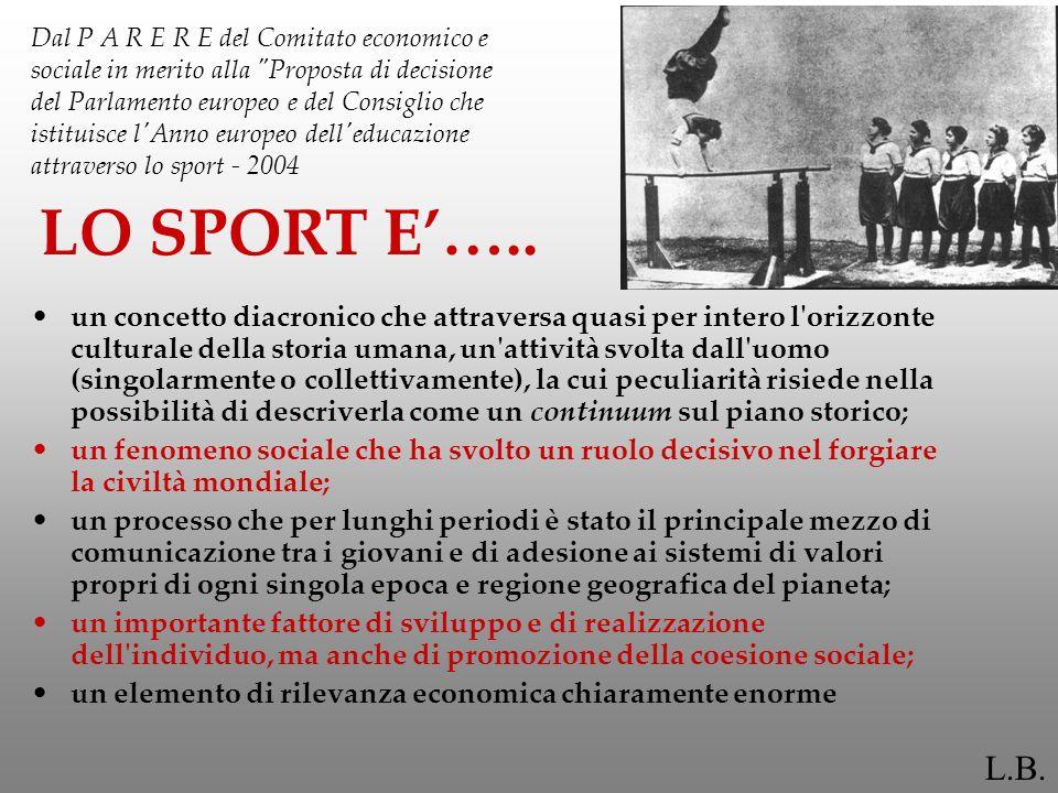 Le cinque funzioni specifiche dello sport IX forum europeo dello Sport - FUNZIONE EDUCATIVA (lo sport come strumento di formazione e sviluppo della persona) - FUNZIONE DI SANITA PUBBLICA (lo sport come strumento di prevenzione e cura della salute - FUNZIONE SOCIALE (lo sport come strumento di coesione sociale) - FUNZIONE CULTURALE (lo sport come strumento di conoscenza e protezione ambientale) - FUNZIONE LUDICA (lo sport come strumento del tempo libero individuale e collettivo) E inoltre possibile identificare una SESTA FUNZIONE - LA FUNZIONE OCCUPAZIONALE (lo sport come prospettiva di sviluppo occupazionale)