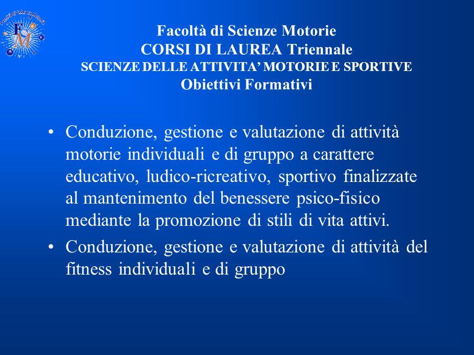 Facoltà di Scienze Motorie Obiettivi Formativi – CORSI DI LAUREA 1.Classe delle lauree in Scienze delle Attività Motorie e Sportive (1° livello) 2.Cla