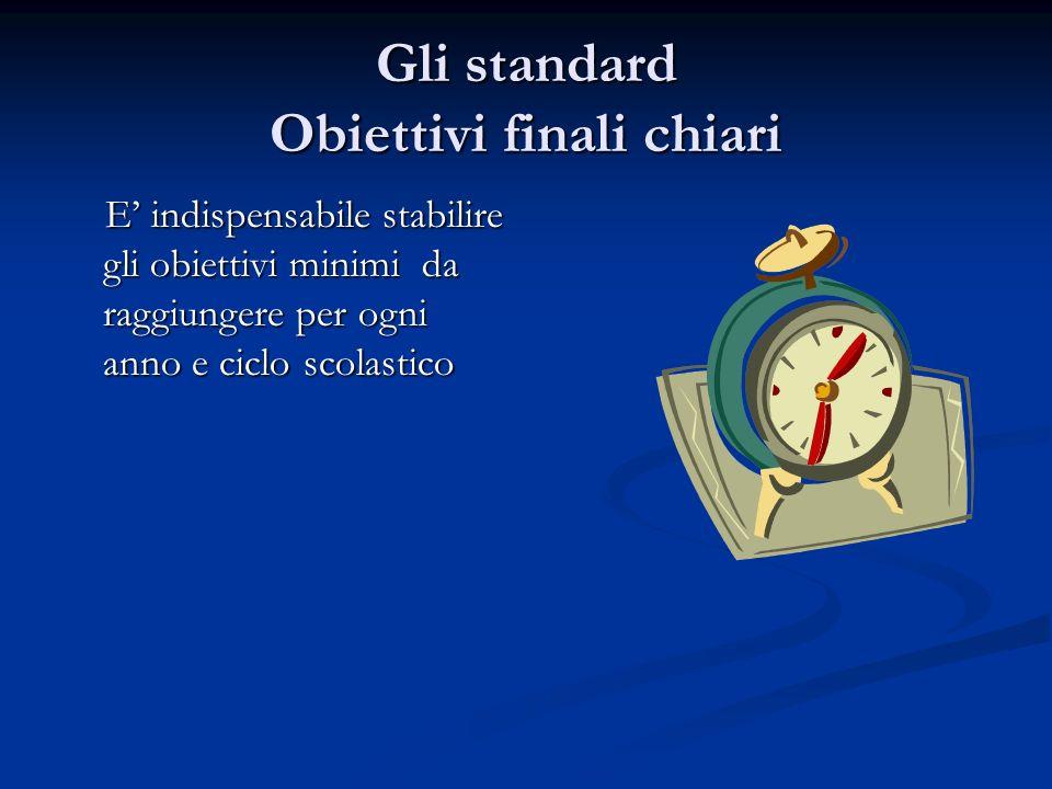 Gli standard Obiettivi finali chiari E indispensabile stabilire gli obiettivi minimi da raggiungere per ogni anno e ciclo scolastico