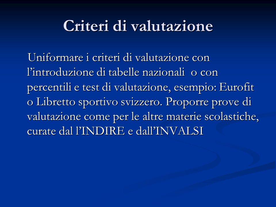 Criteri di valutazione Uniformare i criteri di valutazione con lintroduzione di tabelle nazionali o con percentili e test di valutazione, esempio: Eurofit o Libretto sportivo svizzero.