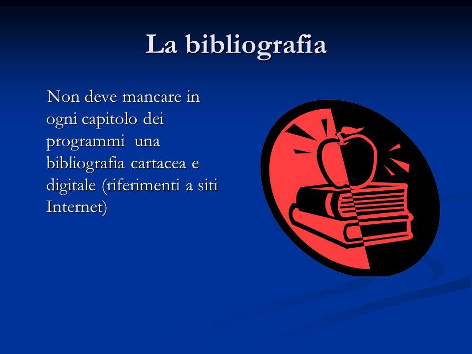 La bibliografia Non deve mancare in ogni capitolo dei programmi una bibliografia cartacea e digitale (riferimenti a siti Internet)