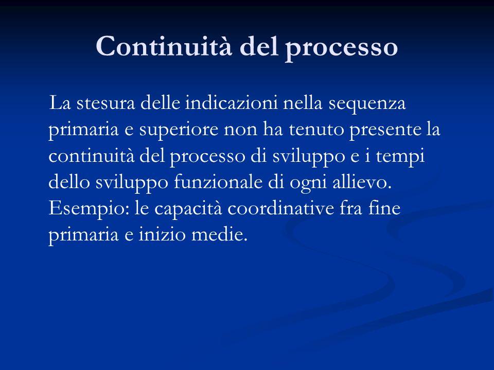 Continuità del processo La stesura delle indicazioni nella sequenza primaria e superiore non ha tenuto presente la continuità del processo di sviluppo e i tempi dello sviluppo funzionale di ogni allievo.