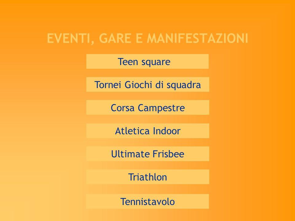 EVENTI, GARE E MANIFESTAZIONI Teen square Corsa Campestre Triathlon Tornei Giochi di squadra Atletica Indoor Ultimate Frisbee Tennistavolo