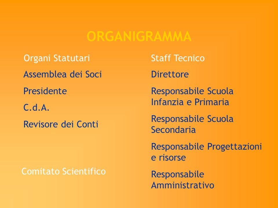 ORGANIGRAMMA Staff Tecnico Assemblea dei Soci Presidente C.d.A. Revisore dei Conti Organi Statutari Direttore Responsabile Scuola Infanzia e Primaria