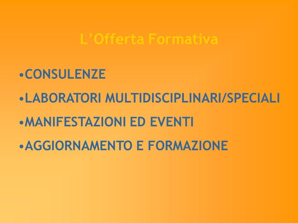 LOfferta Formativa CONSULENZE LABORATORI MULTIDISCIPLINARI/SPECIALI MANIFESTAZIONI ED EVENTI AGGIORNAMENTO E FORMAZIONE