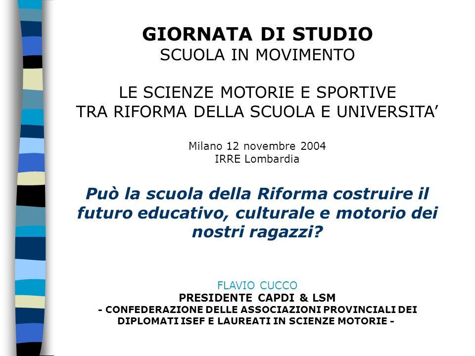 GIORNATA DI STUDIO SCUOLA IN MOVIMENTO LE SCIENZE MOTORIE E SPORTIVE TRA RIFORMA DELLA SCUOLA E UNIVERSITA Milano 12 novembre 2004 IRRE Lombardia Può