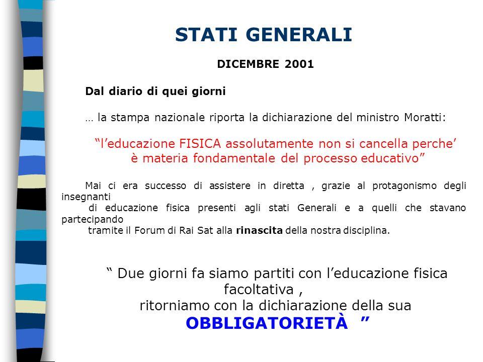 STATI GENERALI DICEMBRE 2001 Dal diario di quei giorni … la stampa nazionale riporta la dichiarazione del ministro Moratti: leducazione FISICA assolut