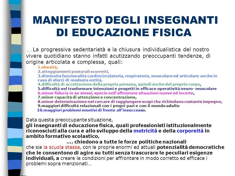 MANIFESTO DEGLI INSEGNANTI DI EDUCAZIONE FISICA …..