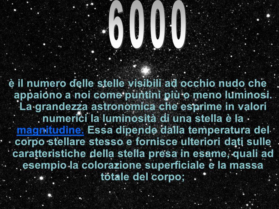 è il numero delle stelle visibili ad occhio nudo che appaiono a noi come puntini più o meno luminosi. La grandezza astronomica che esprime in valori n