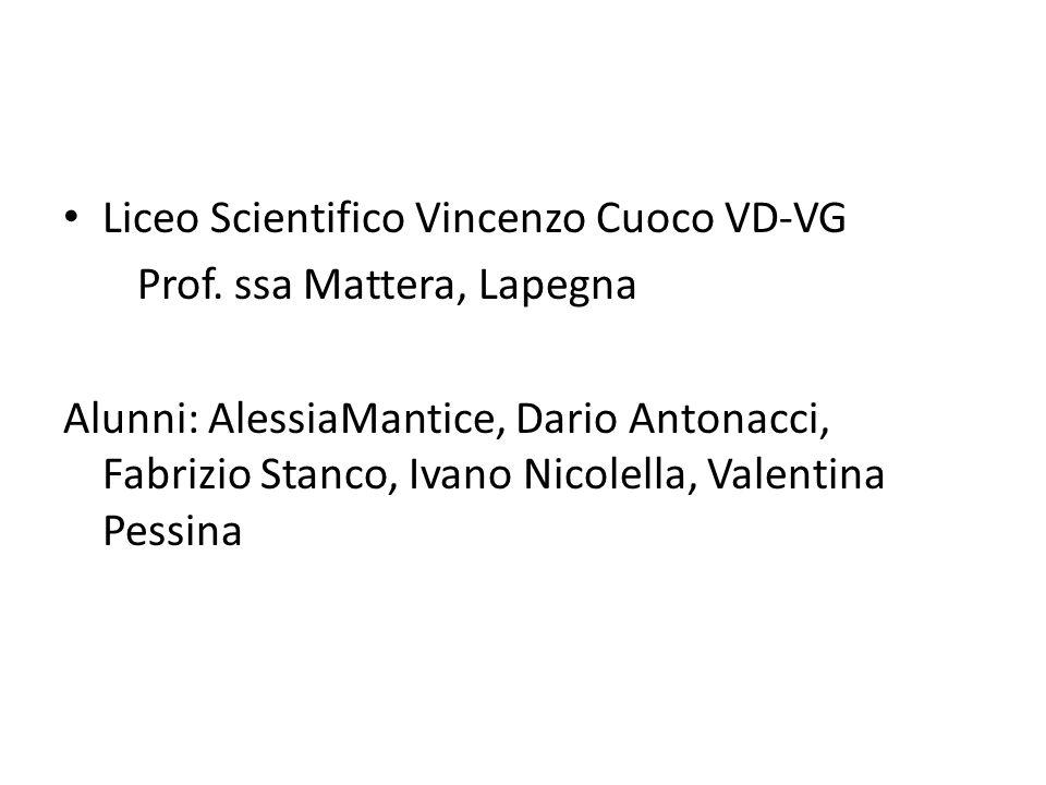 Liceo Scientifico Vincenzo Cuoco VD-VG Prof. ssa Mattera, Lapegna Alunni: AlessiaMantice, Dario Antonacci, Fabrizio Stanco, Ivano Nicolella, Valentina