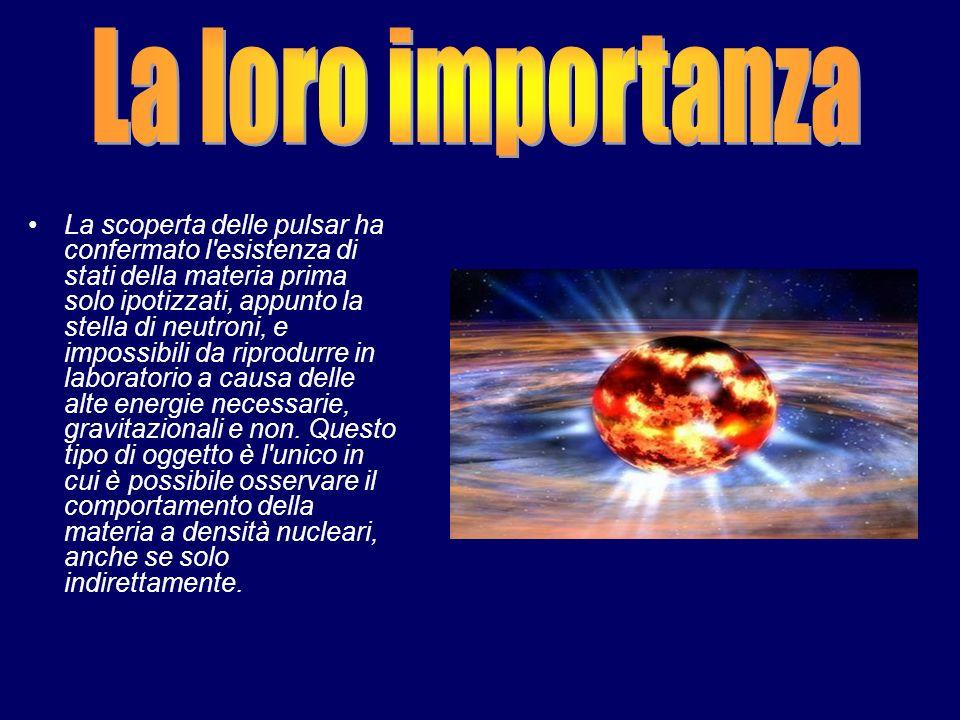 La scoperta delle pulsar ha confermato l'esistenza di stati della materia prima solo ipotizzati, appunto la stella di neutroni, e impossibili da ripro