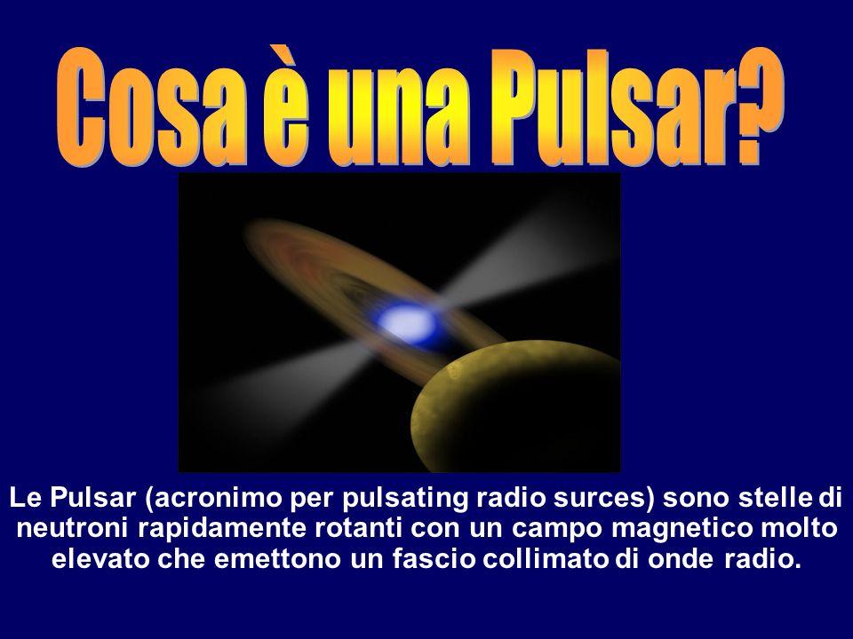 Le Pulsar (acronimo per pulsating radio surces) sono stelle di neutroni rapidamente rotanti con un campo magnetico molto elevato che emettono un fasci