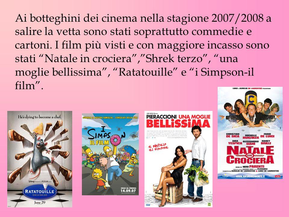 Ai botteghini dei cinema nella stagione 2007/2008 a salire la vetta sono stati soprattutto commedie e cartoni. I film più visti e con maggiore incasso