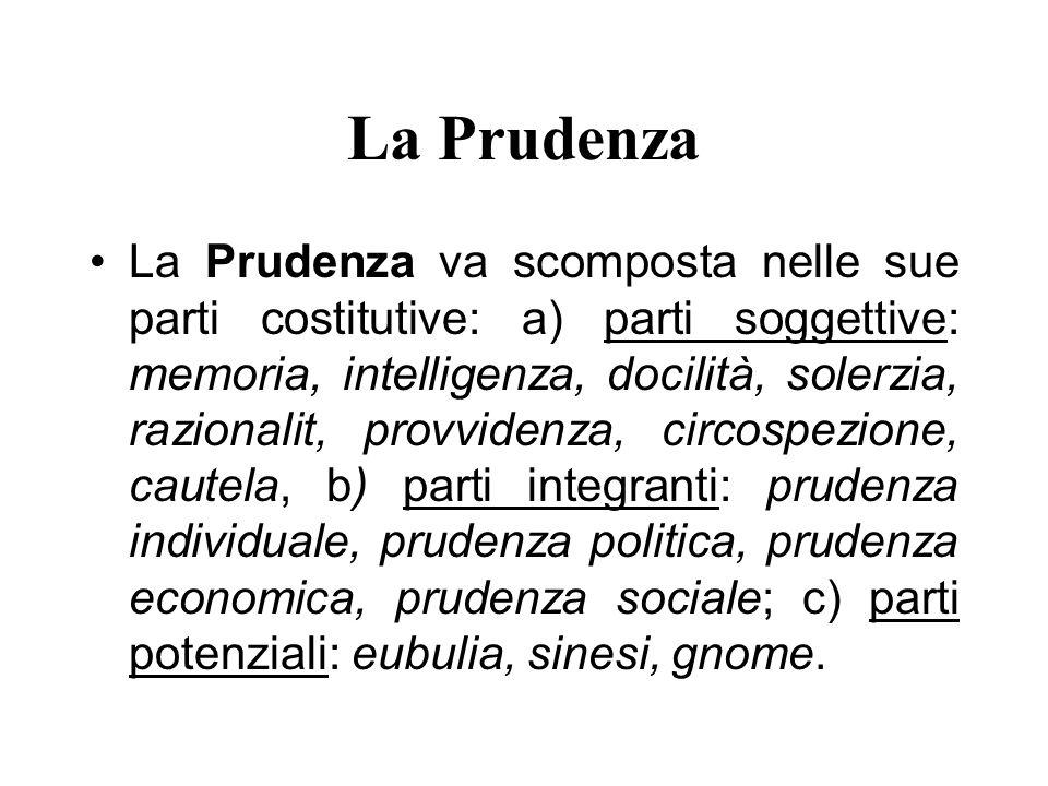 La Prudenza La Prudenza va scomposta nelle sue parti costitutive: a) parti soggettive: memoria, intelligenza, docilità, solerzia, razionalit, provvide