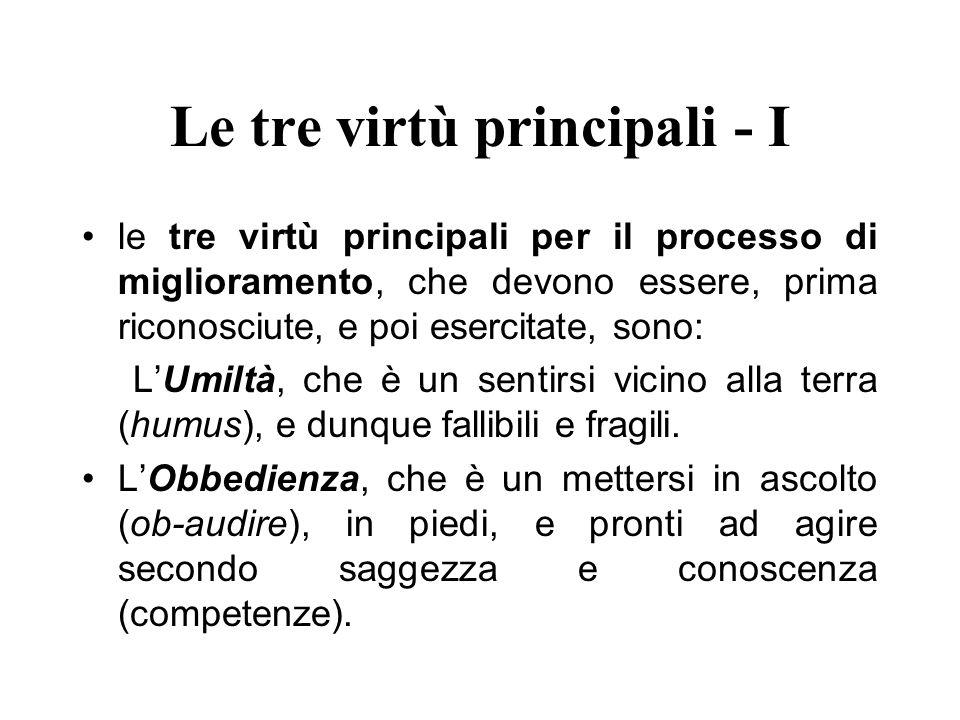Le tre virtù principali - I le tre virtù principali per il processo di miglioramento, che devono essere, prima riconosciute, e poi esercitate, sono: L