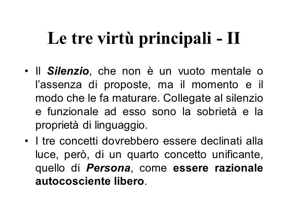 Le tre virtù principali - II Il Silenzio, che non è un vuoto mentale o lassenza di proposte, ma il momento e il modo che le fa maturare. Collegate al