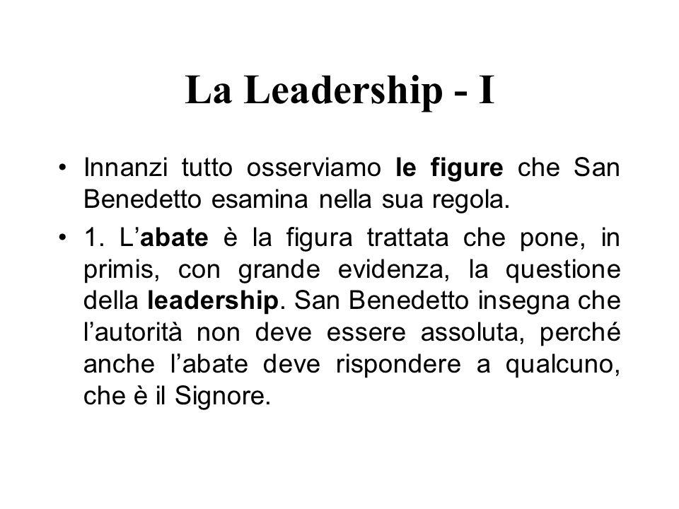 La Leadership - I Innanzi tutto osserviamo le figure che San Benedetto esamina nella sua regola. 1. Labate è la figura trattata che pone, in primis, c