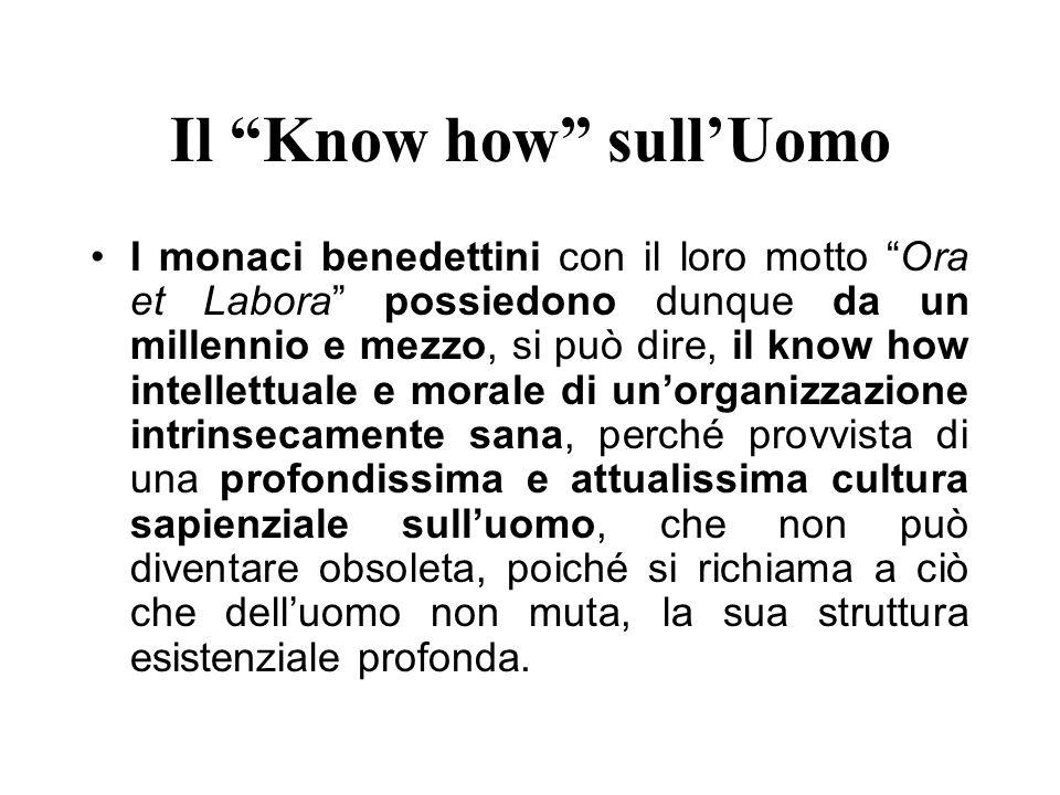 Il Know how sullUomo I monaci benedettini con il loro motto Ora et Labora possiedono dunque da un millennio e mezzo, si può dire, il know how intellet