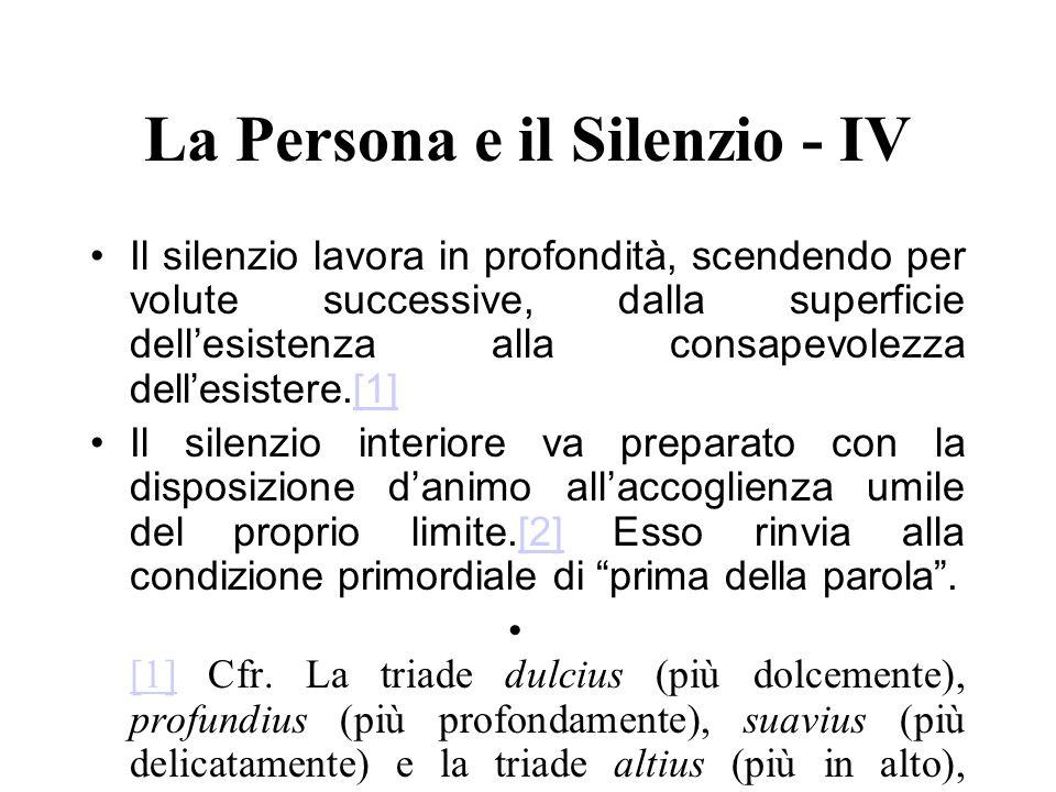 La Persona e il Silenzio - IV Il silenzio lavora in profondità, scendendo per volute successive, dalla superficie dellesistenza alla consapevolezza de