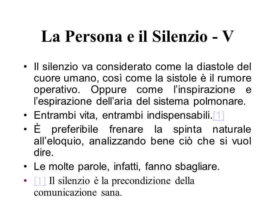 La Persona e il Silenzio - V Il silenzio va considerato come la diastole del cuore umano, così come la sistole è il rumore operativo. Oppure come lins