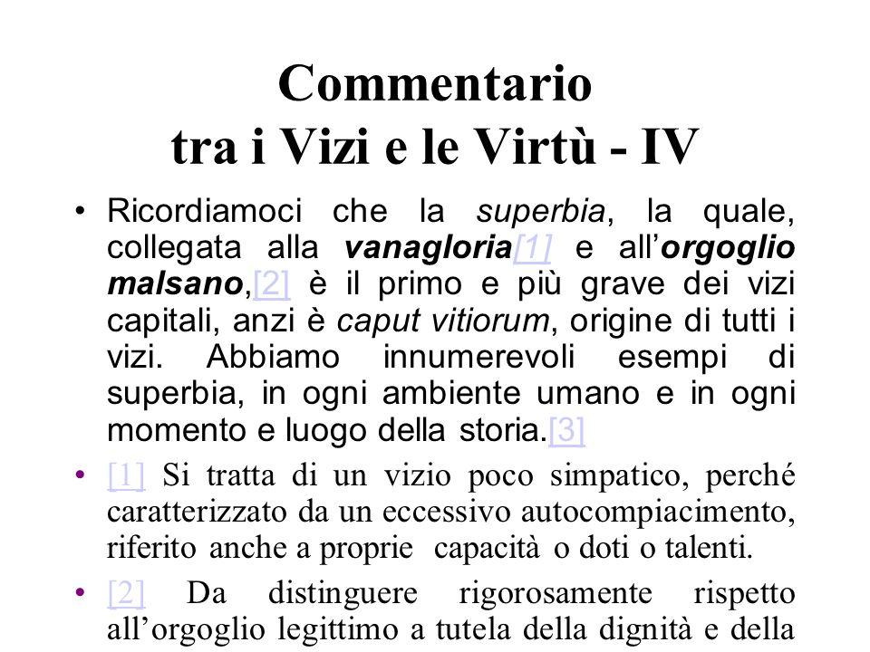 Commentario tra i Vizi e le Virtù - IV Ricordiamoci che la superbia, la quale, collegata alla vanagloria[1] e allorgoglio malsano,[2] è il primo e più