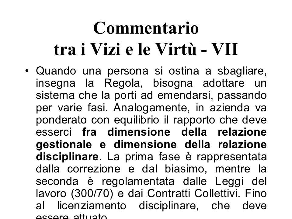 Commentario tra i Vizi e le Virtù - VII Quando una persona si ostina a sbagliare, insegna la Regola, bisogna adottare un sistema che la porti ad emend