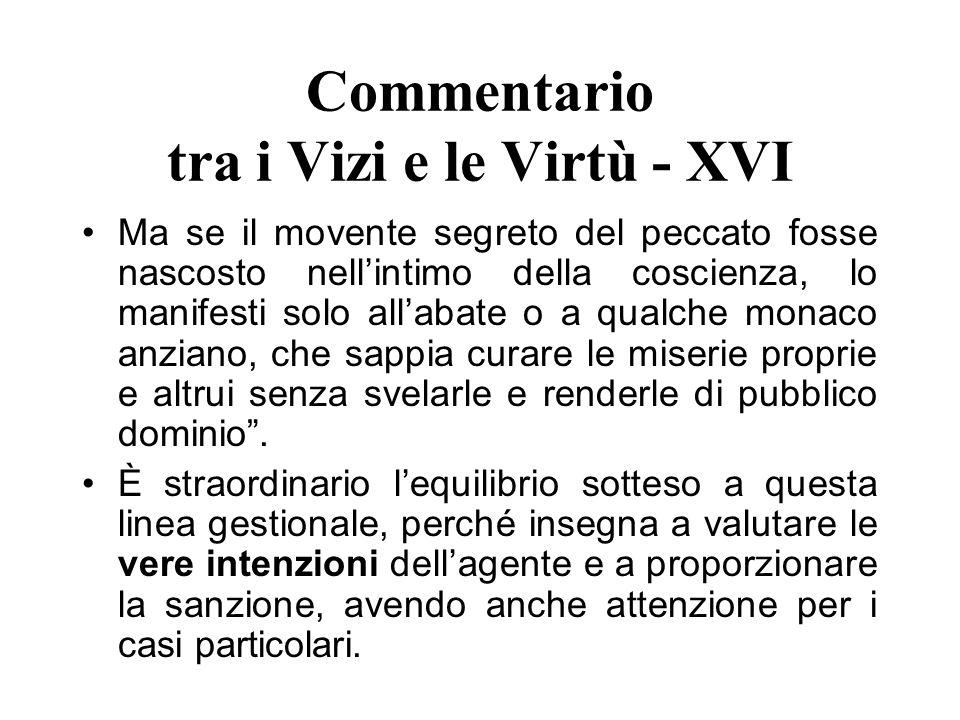 Commentario tra i Vizi e le Virtù - XVI Ma se il movente segreto del peccato fosse nascosto nellintimo della coscienza, lo manifesti solo allabate o a