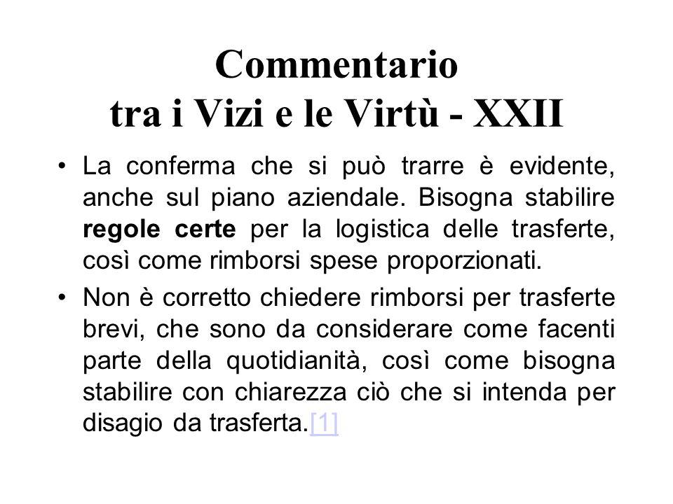 Commentario tra i Vizi e le Virtù - XXII La conferma che si può trarre è evidente, anche sul piano aziendale. Bisogna stabilire regole certe per la lo