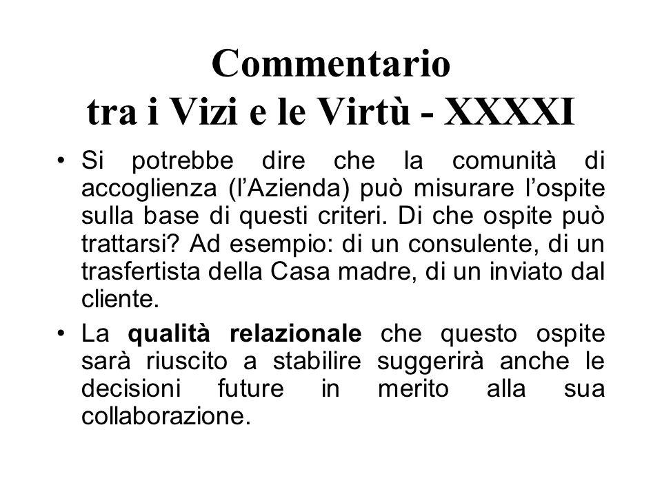 Commentario tra i Vizi e le Virtù - XXXXI Si potrebbe dire che la comunità di accoglienza (lAzienda) può misurare lospite sulla base di questi criteri