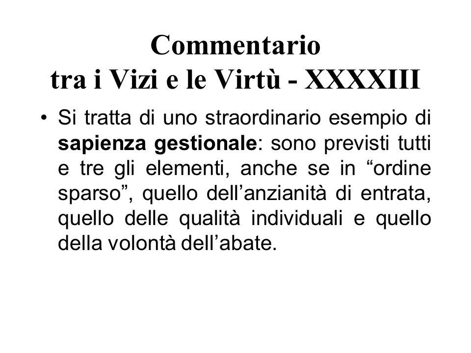 Commentario tra i Vizi e le Virtù - XXXXIII Si tratta di uno straordinario esempio di sapienza gestionale: sono previsti tutti e tre gli elementi, anc
