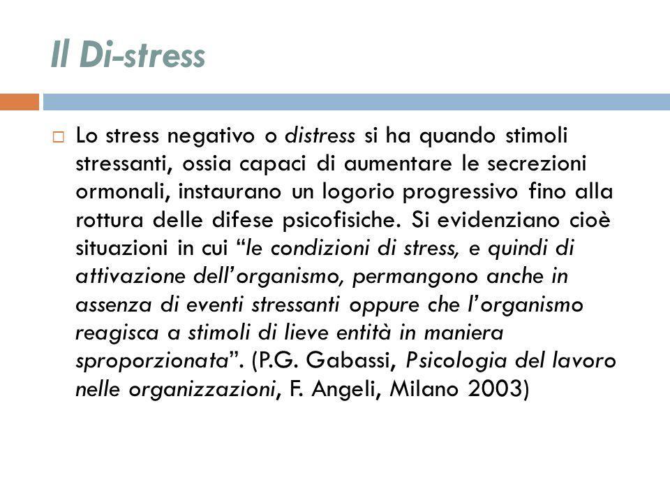 Il Di-stress Lo stress negativo o distress si ha quando stimoli stressanti, ossia capaci di aumentare le secrezioni ormonali, instaurano un logorio pr