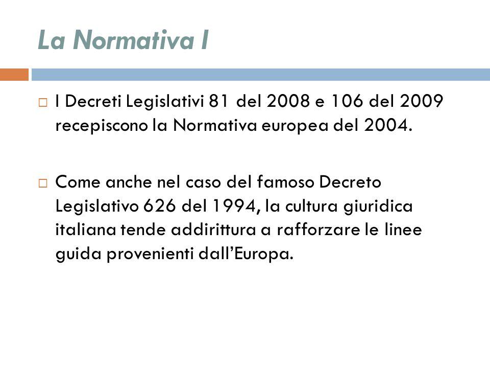 La Normativa I I Decreti Legislativi 81 del 2008 e 106 del 2009 recepiscono la Normativa europea del 2004. Come anche nel caso del famoso Decreto Legi