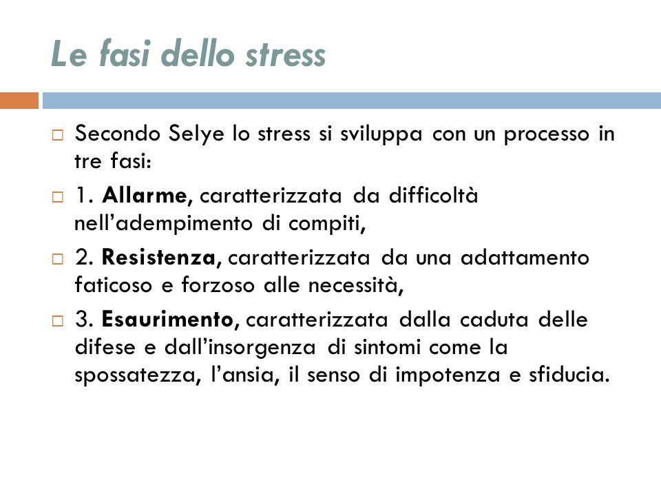 Le fasi dello stress Secondo Selye lo stress si sviluppa con un processo in tre fasi: 1. Allarme, caratterizzata da difficoltà nelladempimento di comp