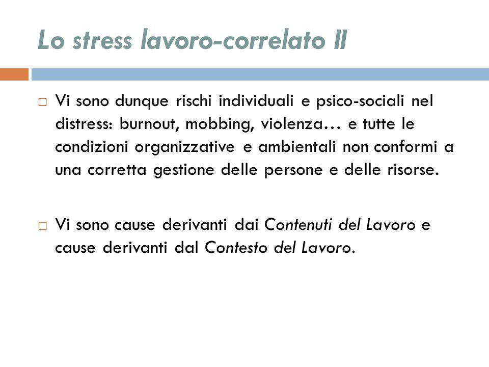 Lo stress lavoro-correlato II Vi sono dunque rischi individuali e psico-sociali nel distress: burnout, mobbing, violenza… e tutte le condizioni organi