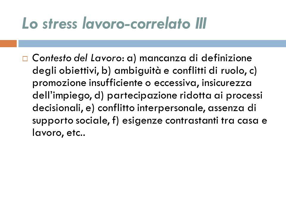 Lo stress lavoro-correlato III Contesto del Lavoro: a) mancanza di definizione degli obiettivi, b) ambiguità e conflitti di ruolo, c) promozione insuf
