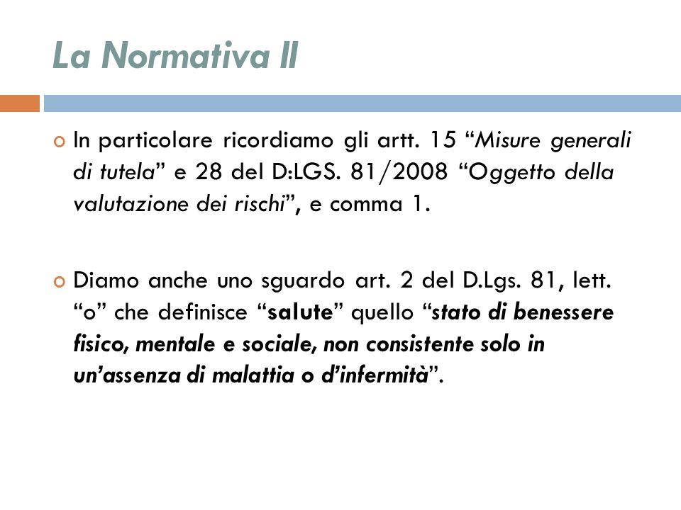 La Normativa II In particolare ricordiamo gli artt. 15 Misure generali di tutela e 28 del D:LGS. 81/2008 Oggetto della valutazione dei rischi, e comma