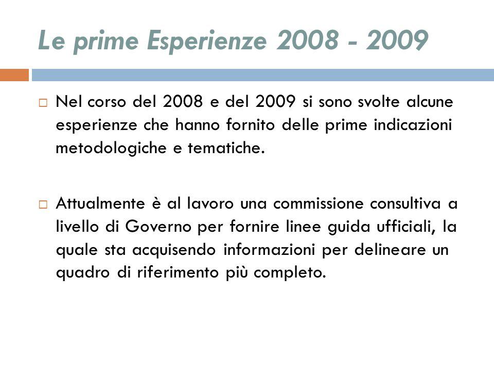 Le prime Esperienze 2008 - 2009 Nel corso del 2008 e del 2009 si sono svolte alcune esperienze che hanno fornito delle prime indicazioni metodologiche