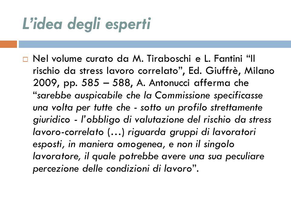 Lidea degli esperti Nel volume curato da M. Tiraboschi e L. Fantini Il rischio da stress lavoro correlato, Ed. Giuffrè, Milano 2009, pp. 585 – 588, A.