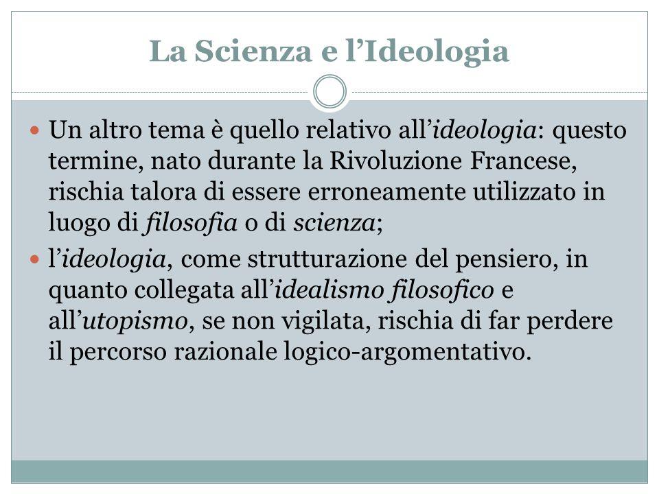 La Scienza e lIdeologia Un altro tema è quello relativo allideologia: questo termine, nato durante la Rivoluzione Francese, rischia talora di essere e