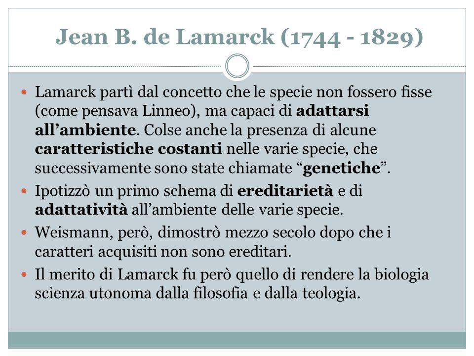 Jean B. de Lamarck (1744 - 1829) Lamarck partì dal concetto che le specie non fossero fisse (come pensava Linneo), ma capaci di adattarsi allambiente.