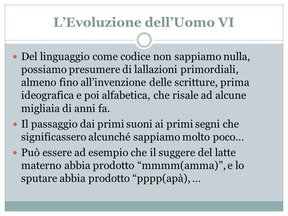 LEvoluzione dellUomo VI Del linguaggio come codice non sappiamo nulla, possiamo presumere di lallazioni primordiali, almeno fino allinvenzione delle s