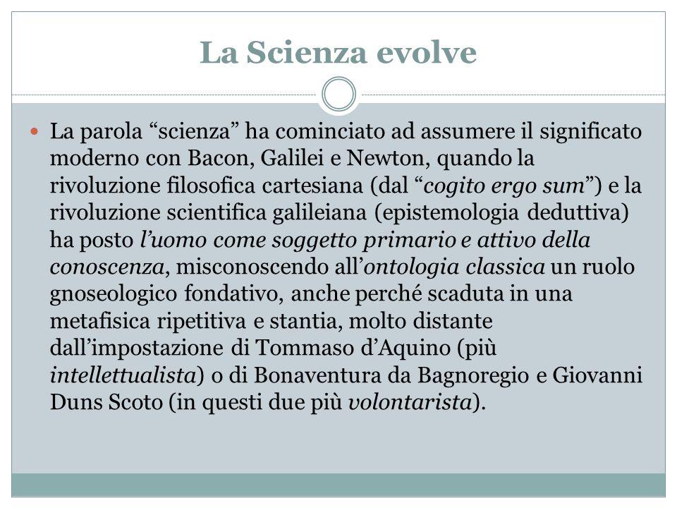 La Scienza evolve La parola scienza ha cominciato ad assumere il significato moderno con Bacon, Galilei e Newton, quando la rivoluzione filosofica car