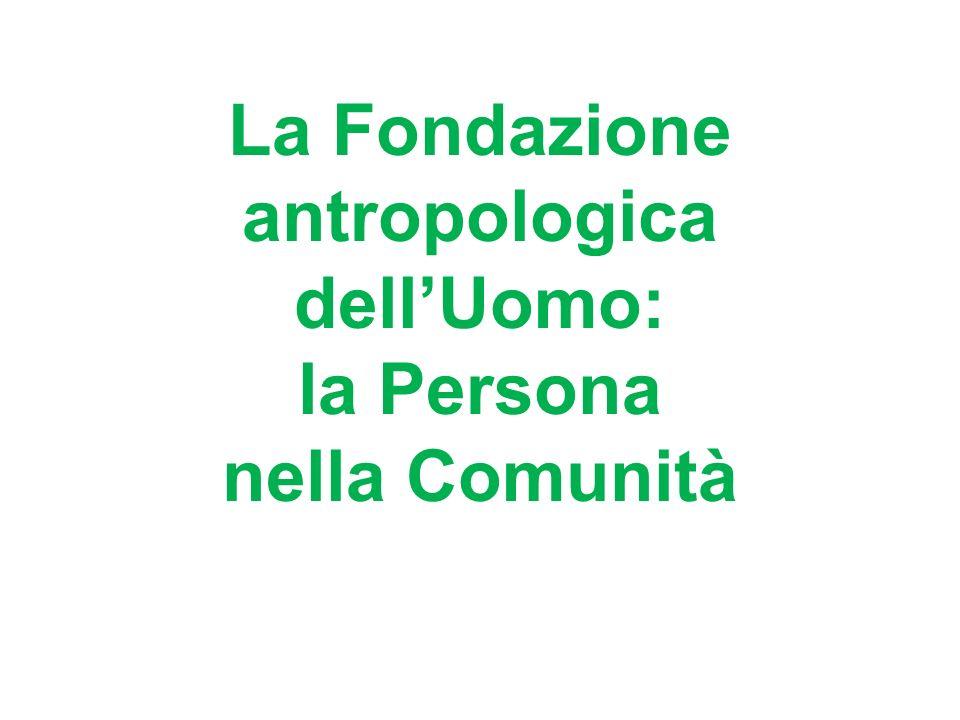 La Fondazione antropologica dellUomo: la Persona nella Comunità