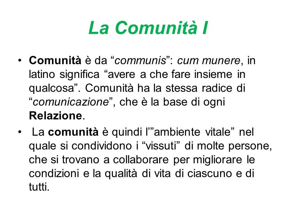 La Comunità I Comunità è da communis: cum munere, in latino significa avere a che fare insieme in qualcosa.