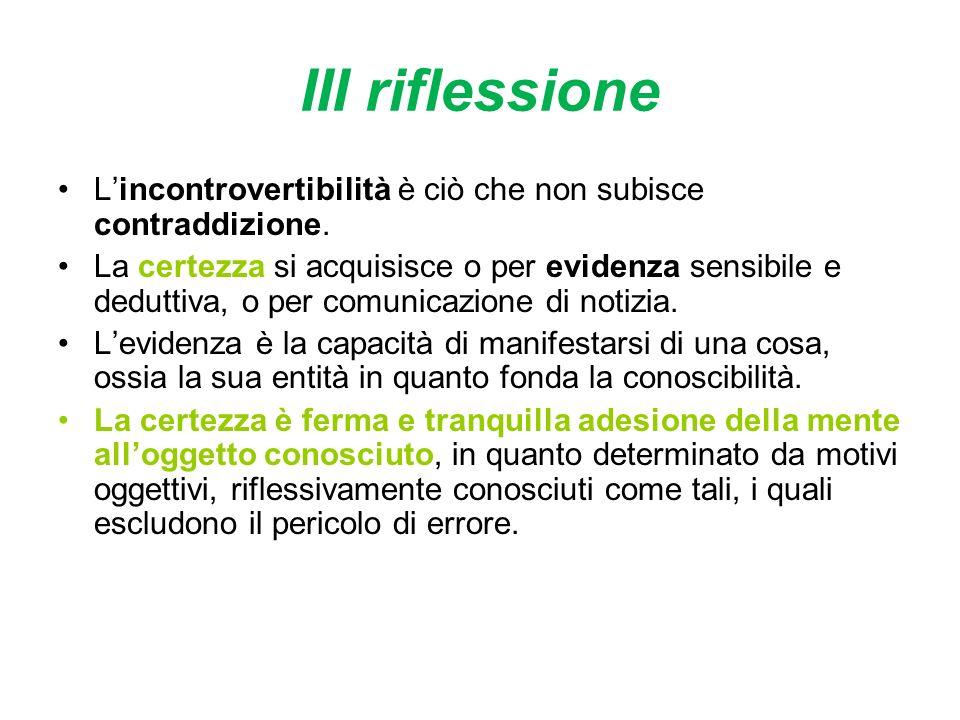 III riflessione Lincontrovertibilità è ciò che non subisce contraddizione.