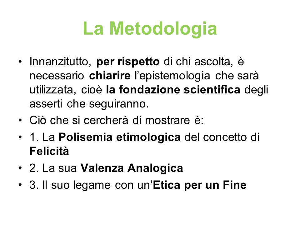 La Metodologia Innanzitutto, per rispetto di chi ascolta, è necessario chiarire lepistemologia che sarà utilizzata, cioè la fondazione scientifica deg