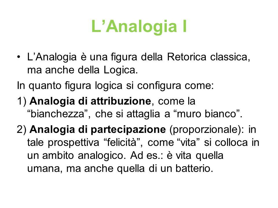 LAnalogia I LAnalogia è una figura della Retorica classica, ma anche della Logica. In quanto figura logica si configura come: 1) Analogia di attribuzi
