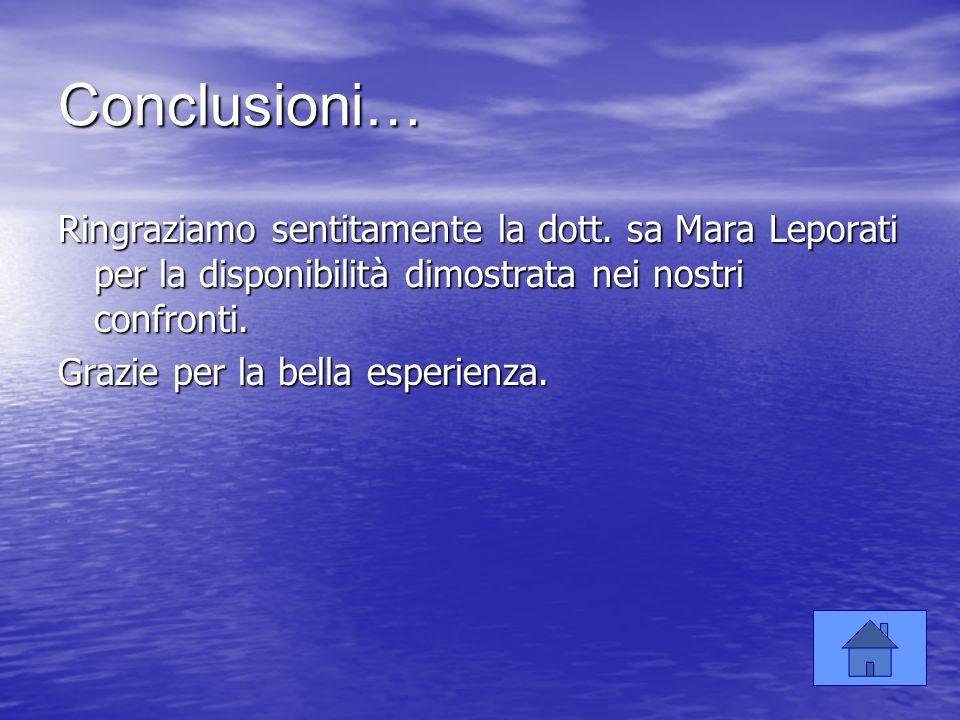 Conclusioni… Ringraziamo sentitamente la dott. sa Mara Leporati per la disponibilità dimostrata nei nostri confronti. Grazie per la bella esperienza.