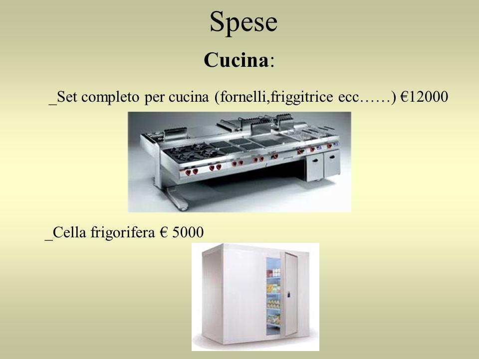 Spese Cucina: _Set completo per cucina (fornelli,friggitrice ecc……) 12000 _Cella frigorifera 5000